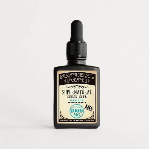 Supernatural 1,000 mg THC-Free CBD Oil from Natural Path Botanicals with the Excite benefit and the Passion Papaya flavor formulated in Hayden, Colorado on sustainable family farms.