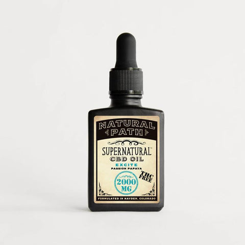 Supernatural CBD Oil THC Free 2,000 mg organic CBD oil from Natural Path Botanicals for Excite benefit with a Passion Papaya flavor. Made in the USA.