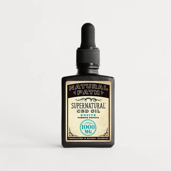 Supernatural CBD Oil 1,000 mg organic CBD oil from Natural Path Botanicals for Excite benefit with a Passion Papaya flavor. Made in the USA.