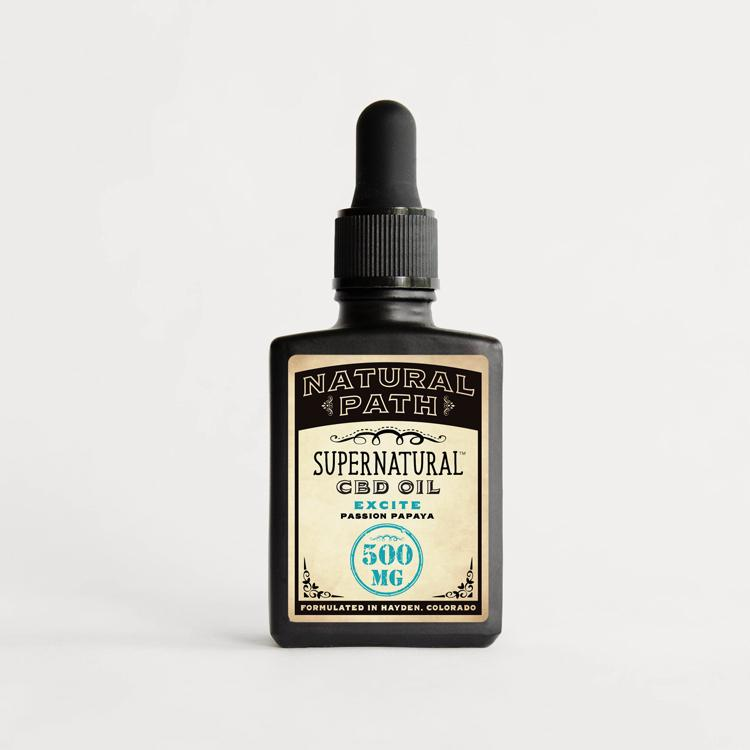 Supernatural CBD Oil 500 mg organic CBD oil from Natural Path Botanicals for Excite benefit with a Passion Papaya flavor. Made in the USA.