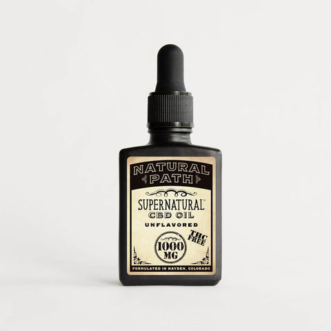 Supernatural 1,000 mg THC-Free CBD Oil from Natural Path Botanicals unflavored and formulated in Hayden, Colorado on sustainable family farms.