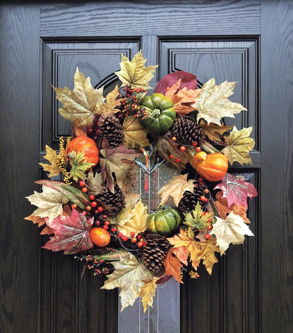 Pumpkin and Pinecones Fall Grapevine Wreath