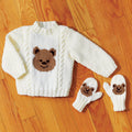 Teddy Bear Pullover & Mitts - Sizes 6/12 months, 1/2 years and 3/4 years (22, 24, 26