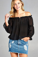 Load image into Gallery viewer, Women's Puff Long Sleeve Ruffled Front Tie Off Shoulder Top