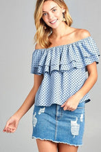 Load image into Gallery viewer, Women's Double Ruffle Off Shoulder Polka Dot Top