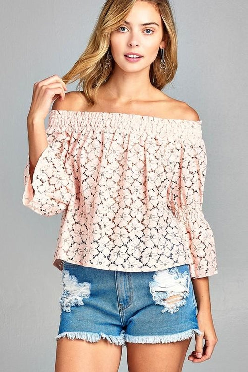 Lace Long Sleeve Off Shoulder Top  - White and Blush
