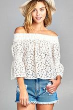 Load image into Gallery viewer, Lace Long Sleeve Off Shoulder Top  - White and Blush