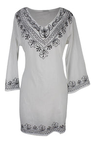 Peach Couture Women's Boho Summer Beach Cotton Embroidered V Neck
