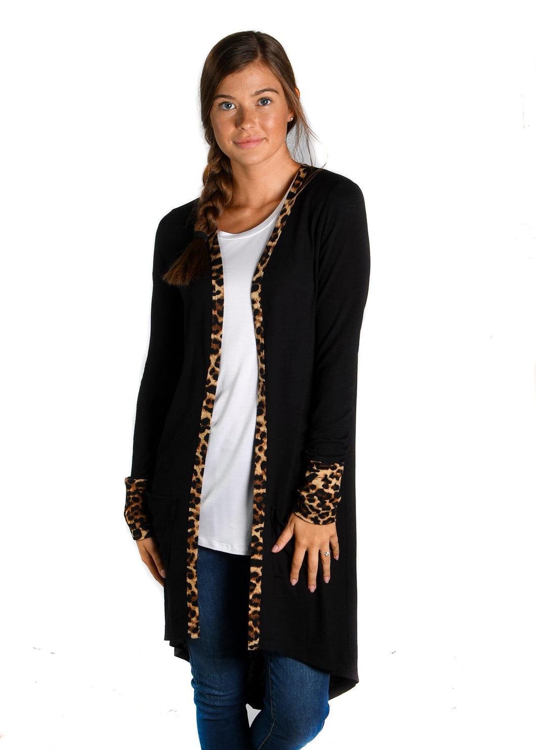 Black with Leopard Favorite Cardigan - Up to XXXL