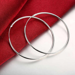 50mm Smooth Hoop Earrings in 18K White Gold Plated
