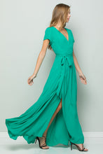 Load image into Gallery viewer, FLOWY MAXI WRAP DRESS - Emerald