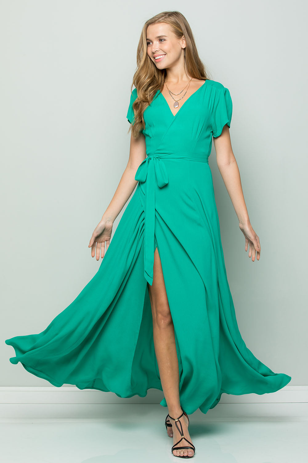 FLOWY MAXI WRAP DRESS - Emerald