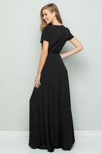 Load image into Gallery viewer, FLOWY MAXI WRAP DRESS - Black