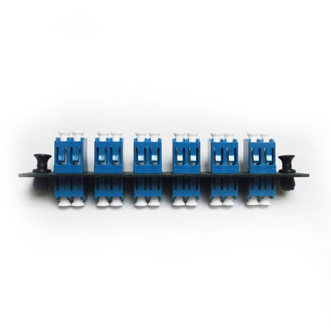 LC Duplex 6 Pack Plate Black Loaded with SM Adapter