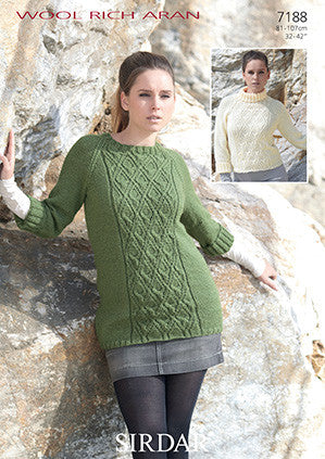 Sirdar Wool Rich Aran Pattern 7188