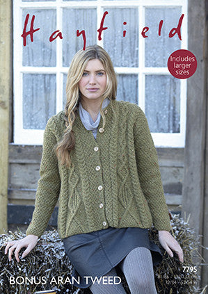 Hayfield Bonus Aran Tweed Pattern 7795