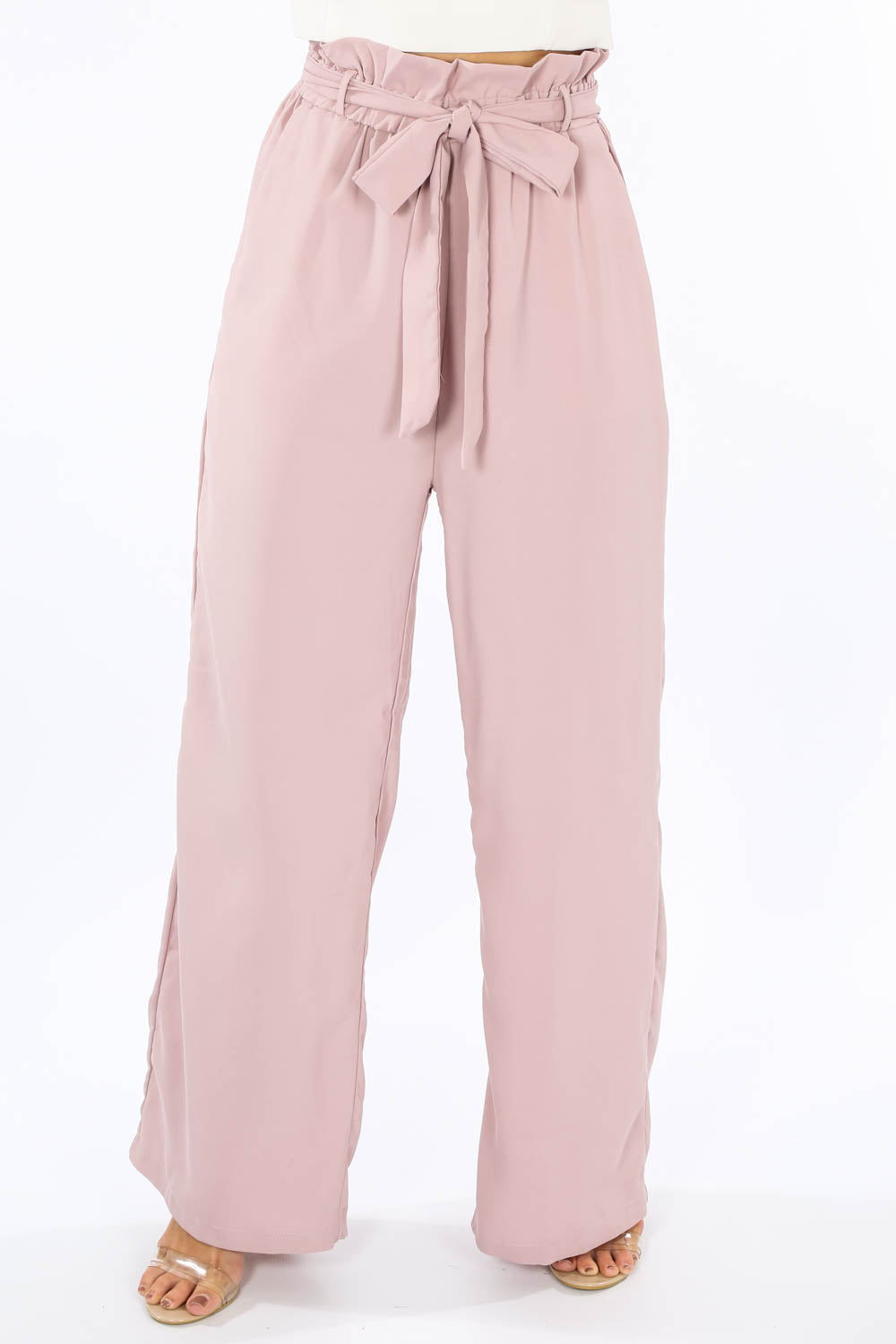 Paperbag Wide Leg Trouser In Mauve