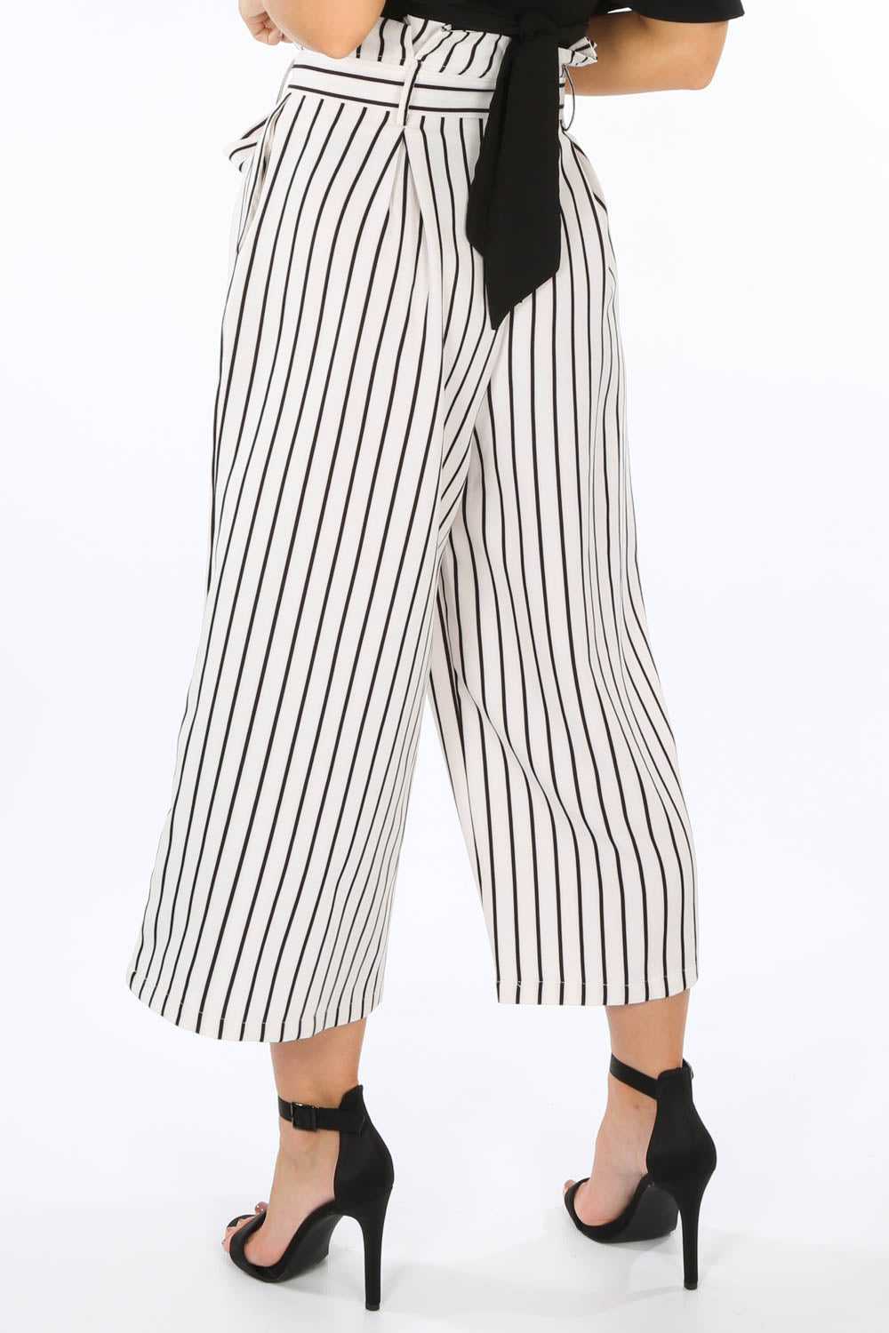 White Cropped Pinstripe Paper Bag Trousers