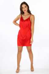 Tassel Cami Dress In Red