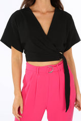 Black D-Ring Wrap Crop Top