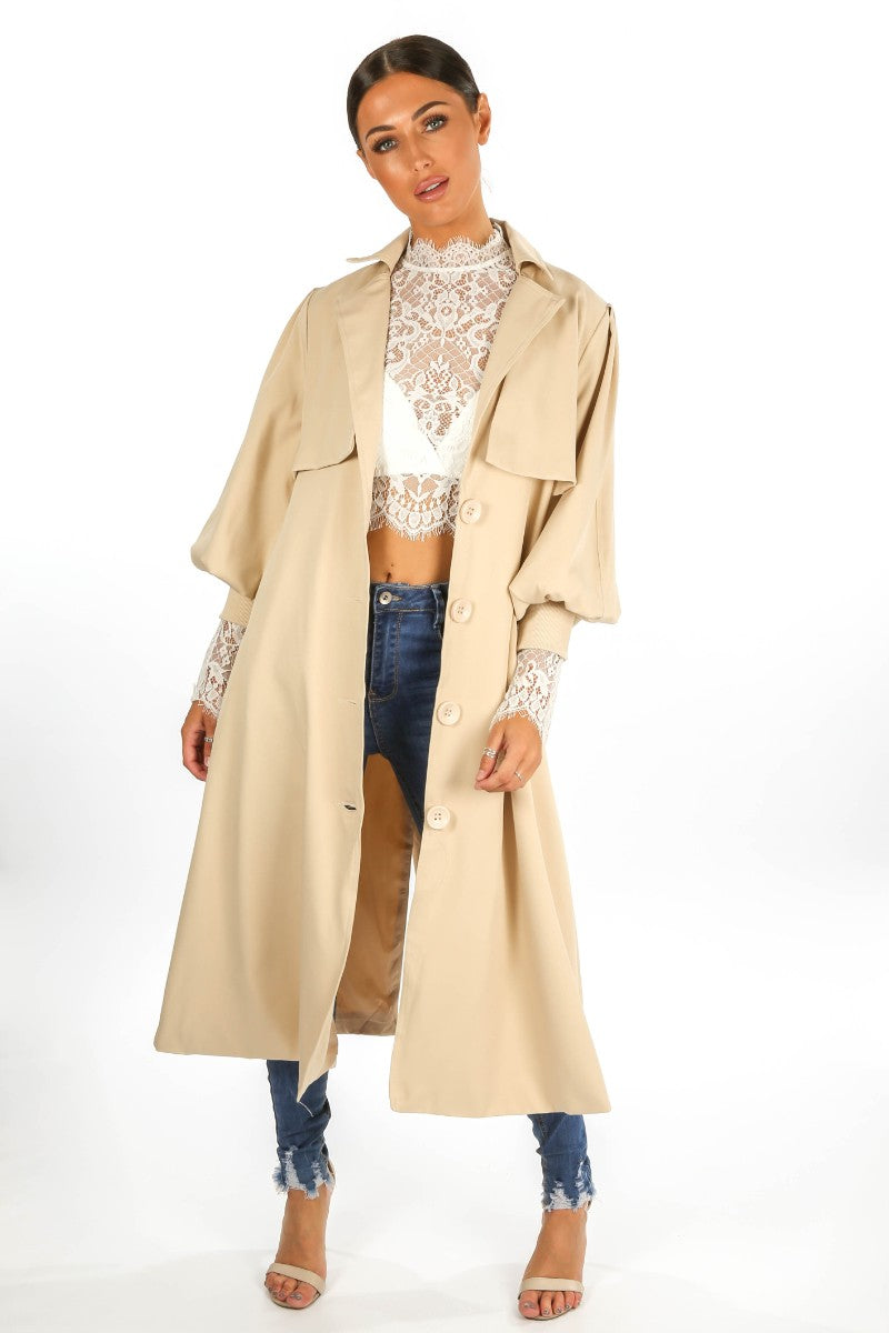 Beige Puff Sleeve Trench coat -Copy