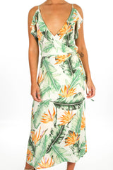 White Tropical Print Wrap Frill Midi Dress