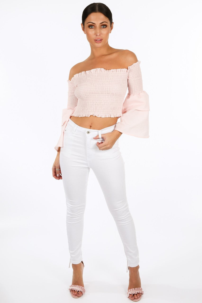 v/290/8098-_Pink_Shirred_Bardot_Crop_Top_With_Bell_Sleeves__85002.jpg