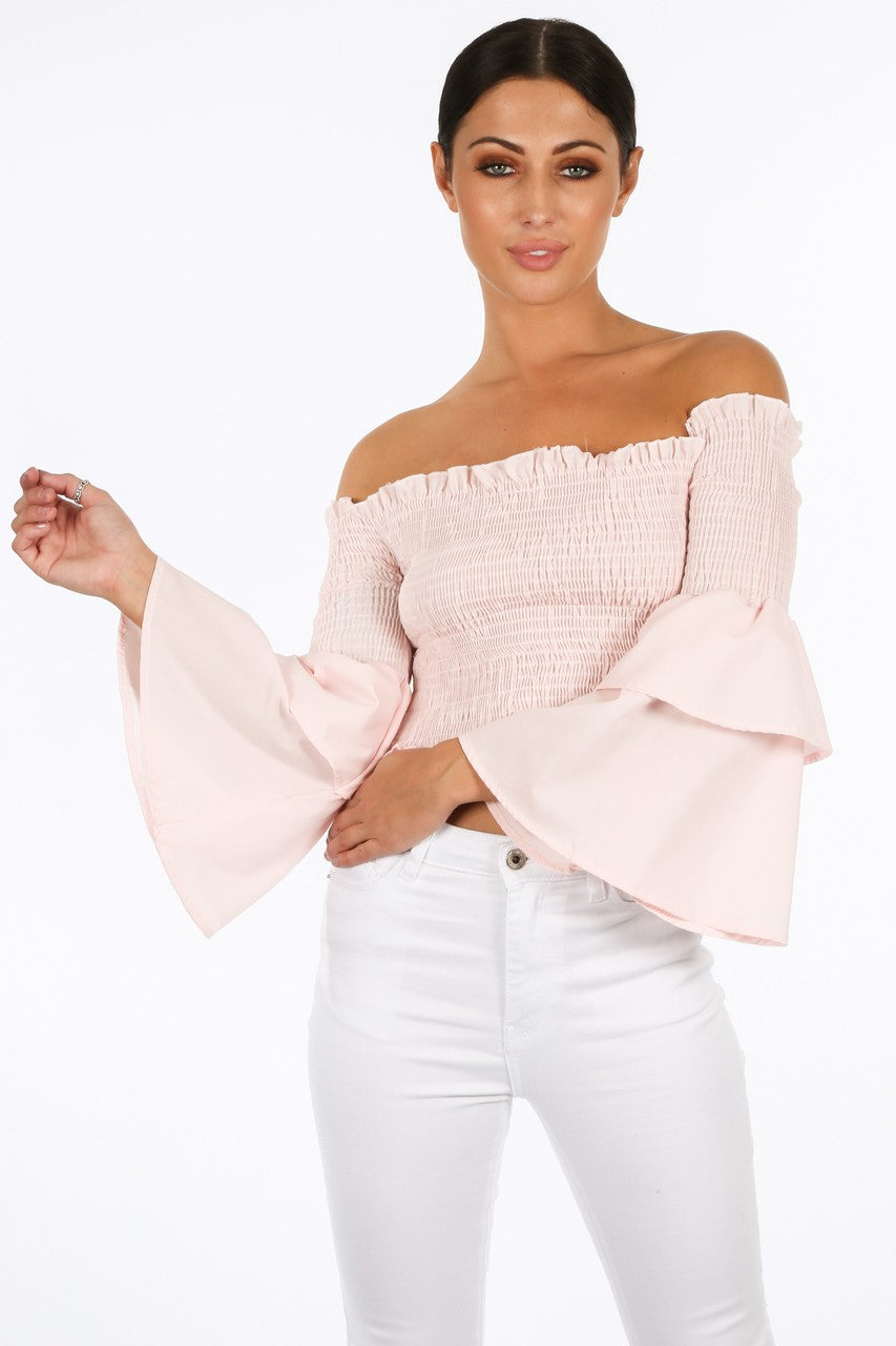 h/167/8098-_Pink_Shirred_Bardot_Crop_Top_With_Bell_Sleeves-2__64773.jpg