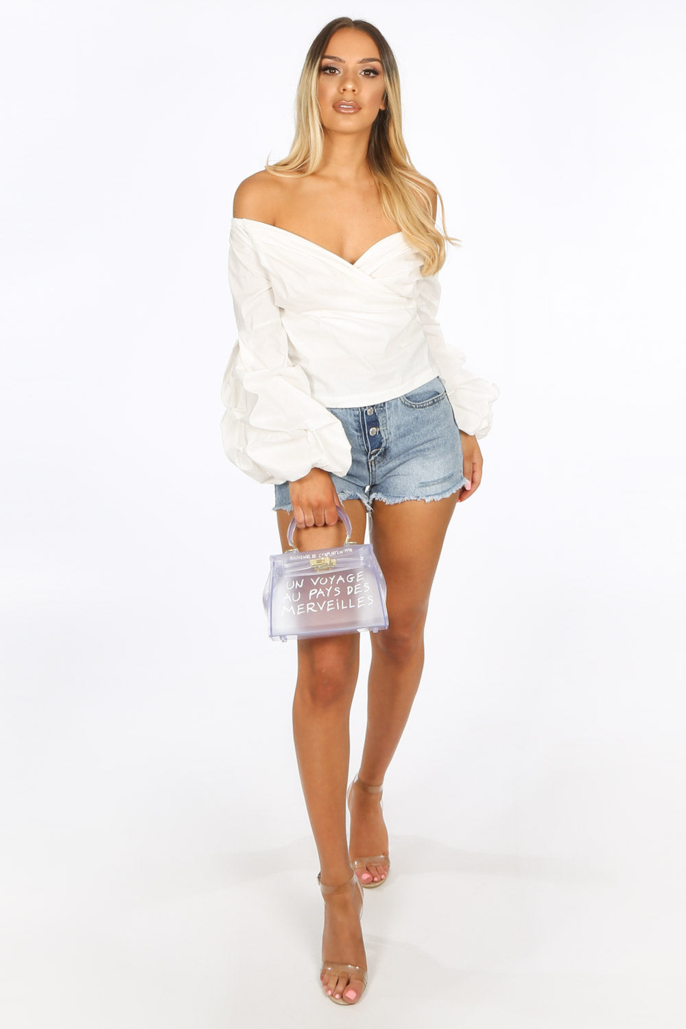 Bardot Puff Sleeve Blouse In White