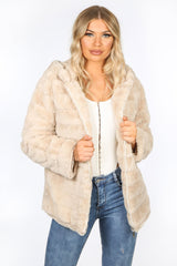 Beige Faux Fur Hooded Jacket