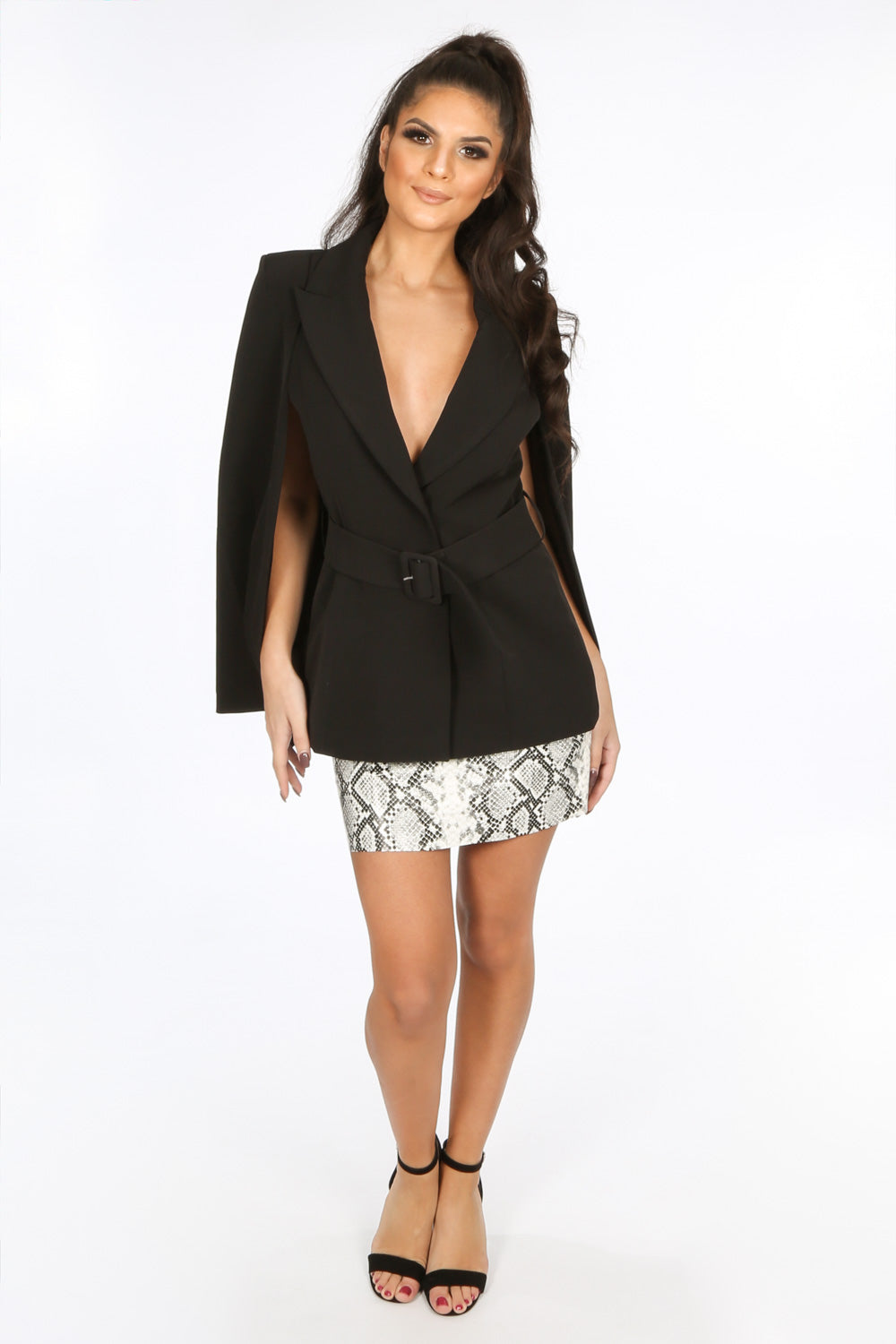 Black Belted Cape Blazer