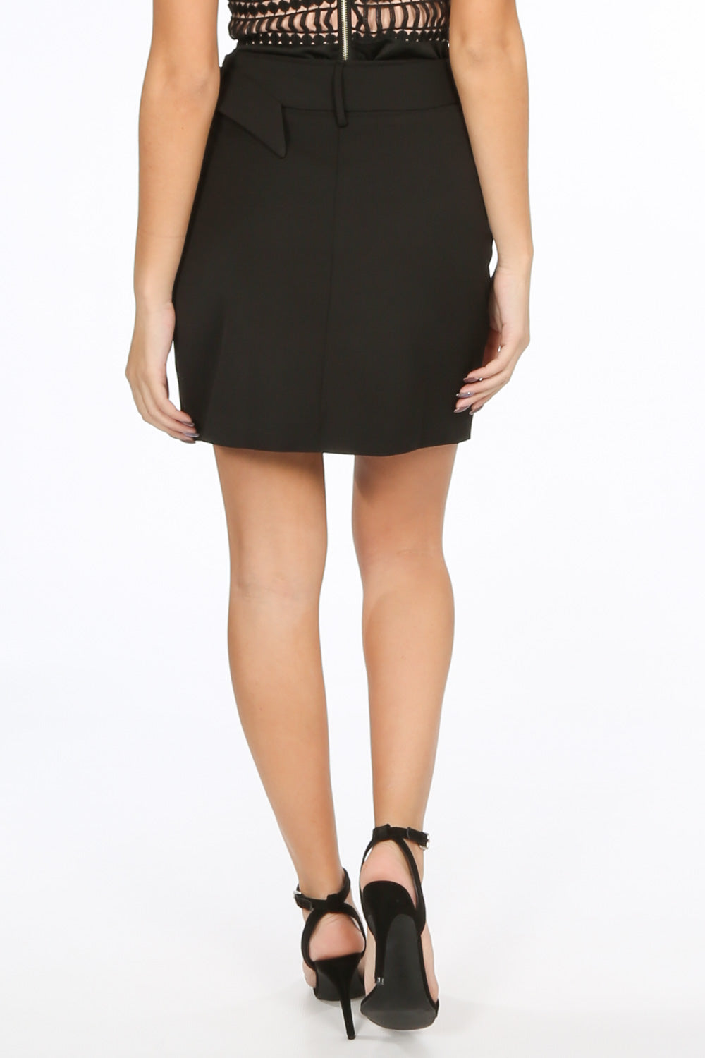 Black Belted Tailored Mini Skirt