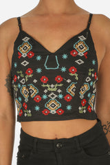 Black Boho Embroidered Crop Top