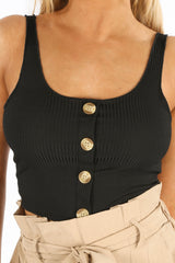 Black Jersey Ribbed Button Crop Top
