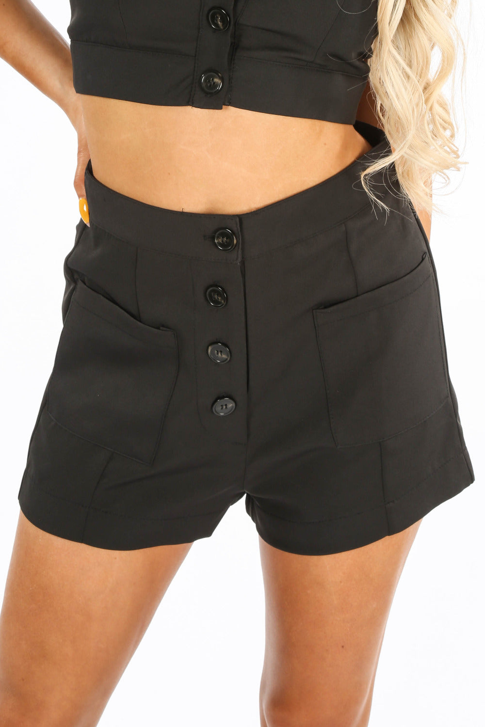 Black Tailored Button Front Shorts