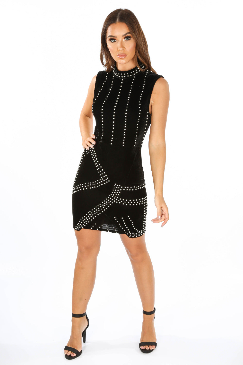 Black Velvet Pearl Embellished Bodycon Mini Dress