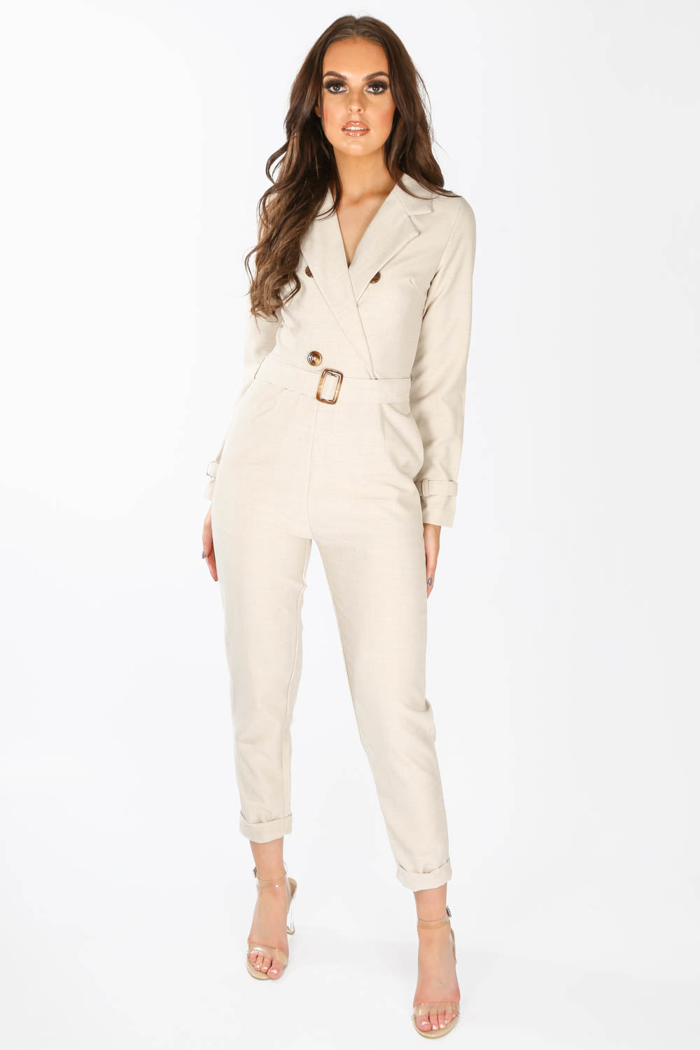 Beige Tailored Belted Utility Jumpsuit