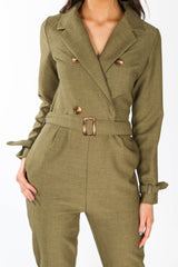 Khaki Tailored Belted Utility Jumpsuit