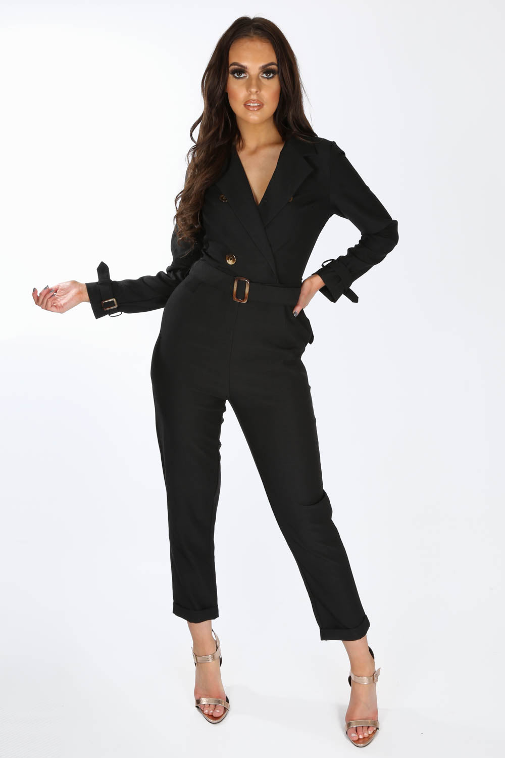Black Tailored Belted Utility Jumpsuit