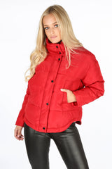Padded Bomber Jacket In Red