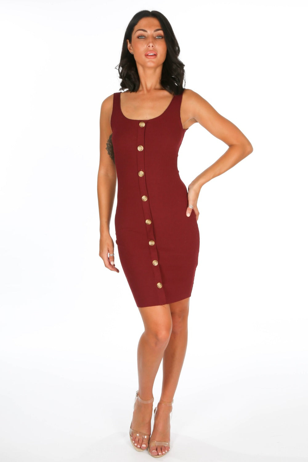 Burgundy Button Front Ribbed Jersey Dress