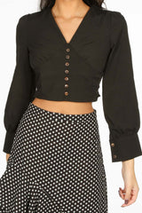 Cropped Button Front Blouse In Black