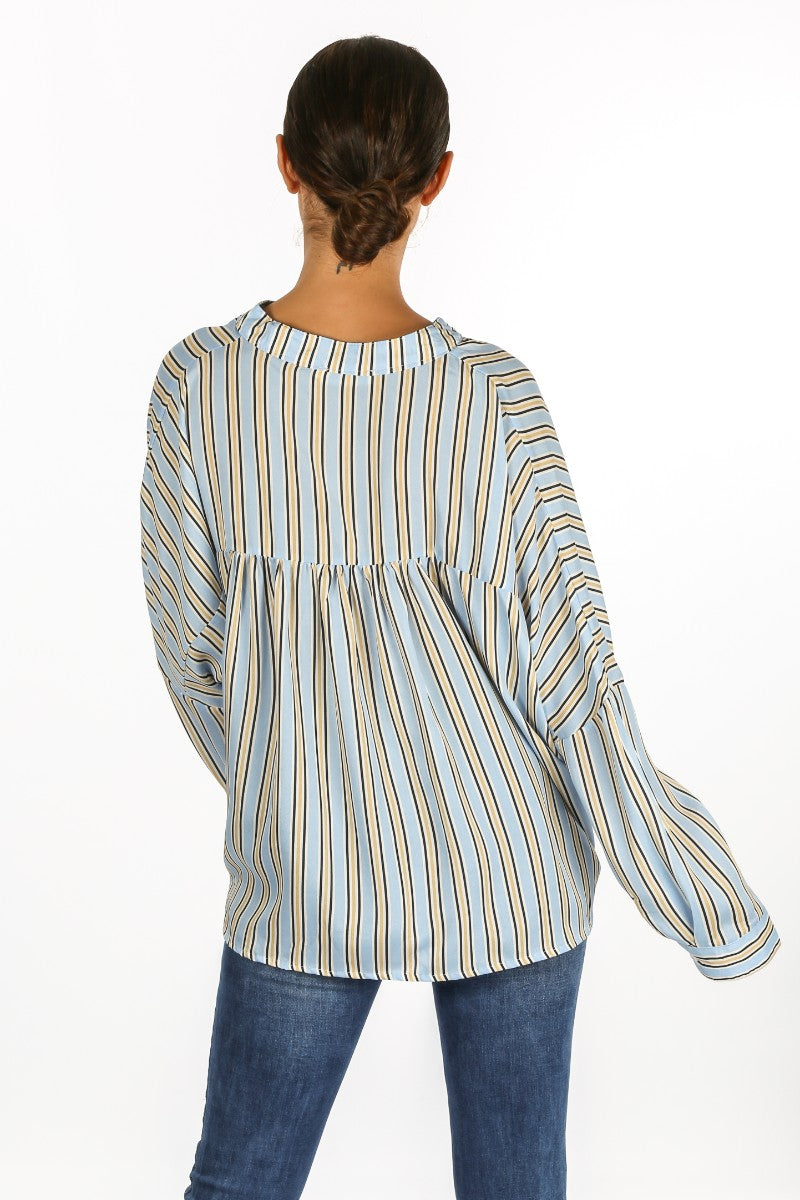 Striped Gathered Pleat Blouse In Blue