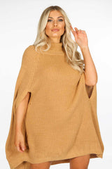 Camel Knitted Poncho Dress