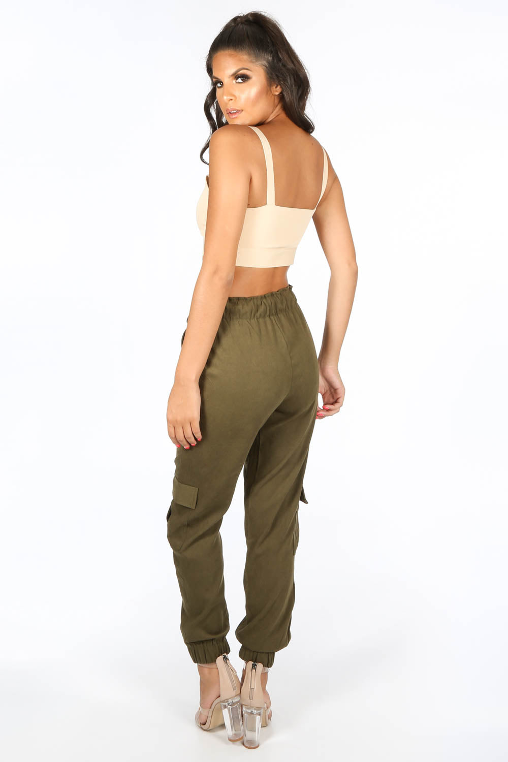 Faux Suede Cargo Trouser In Khaki