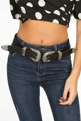 Chunky Silver Double Buckle Belt