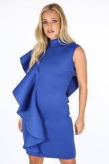 Cobalt Neoprene Frill Shoulder Midi Dress