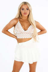 Contrast Crochet Bralet In White