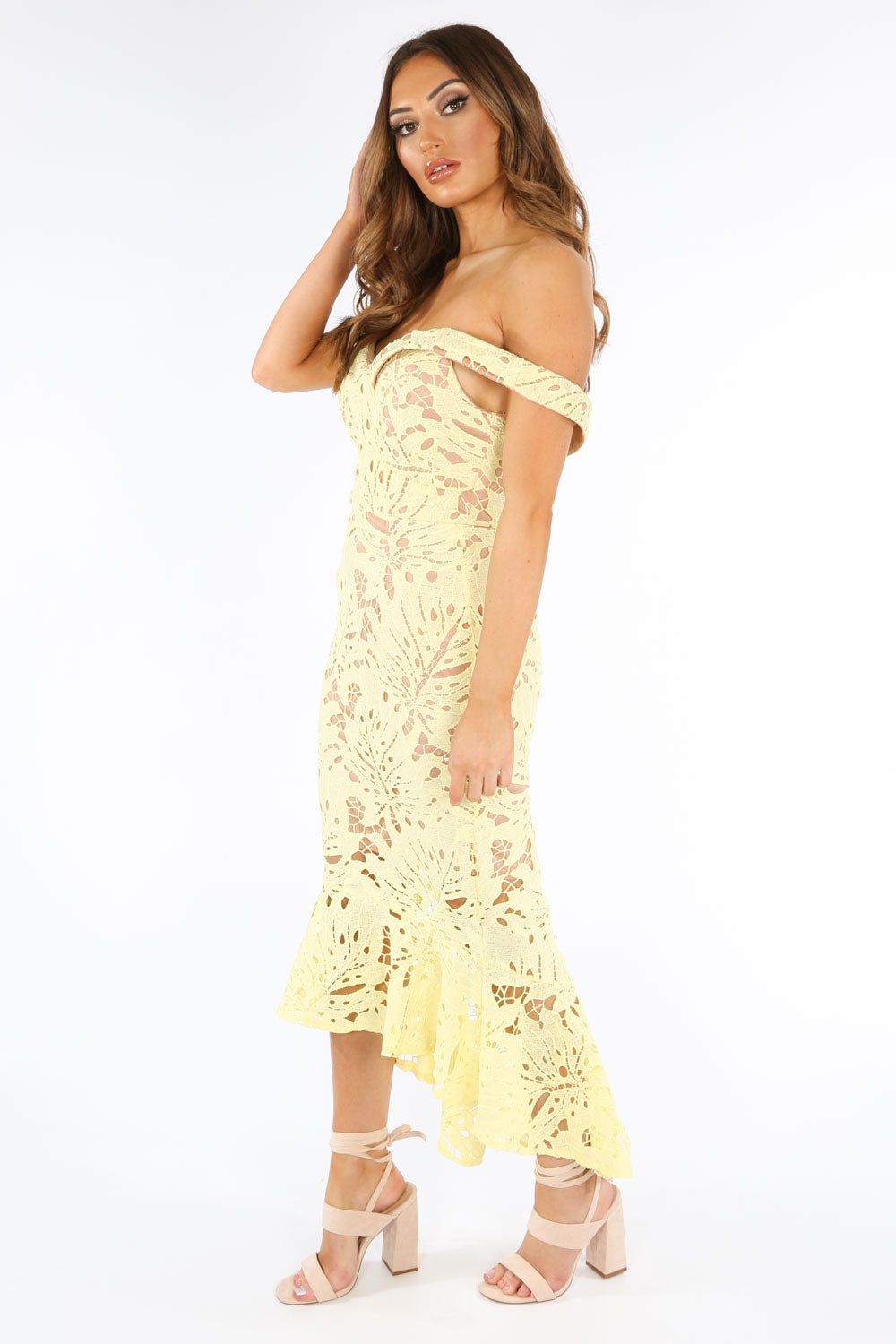 Yellow Contrast Crochet Midi Fishtail Dress