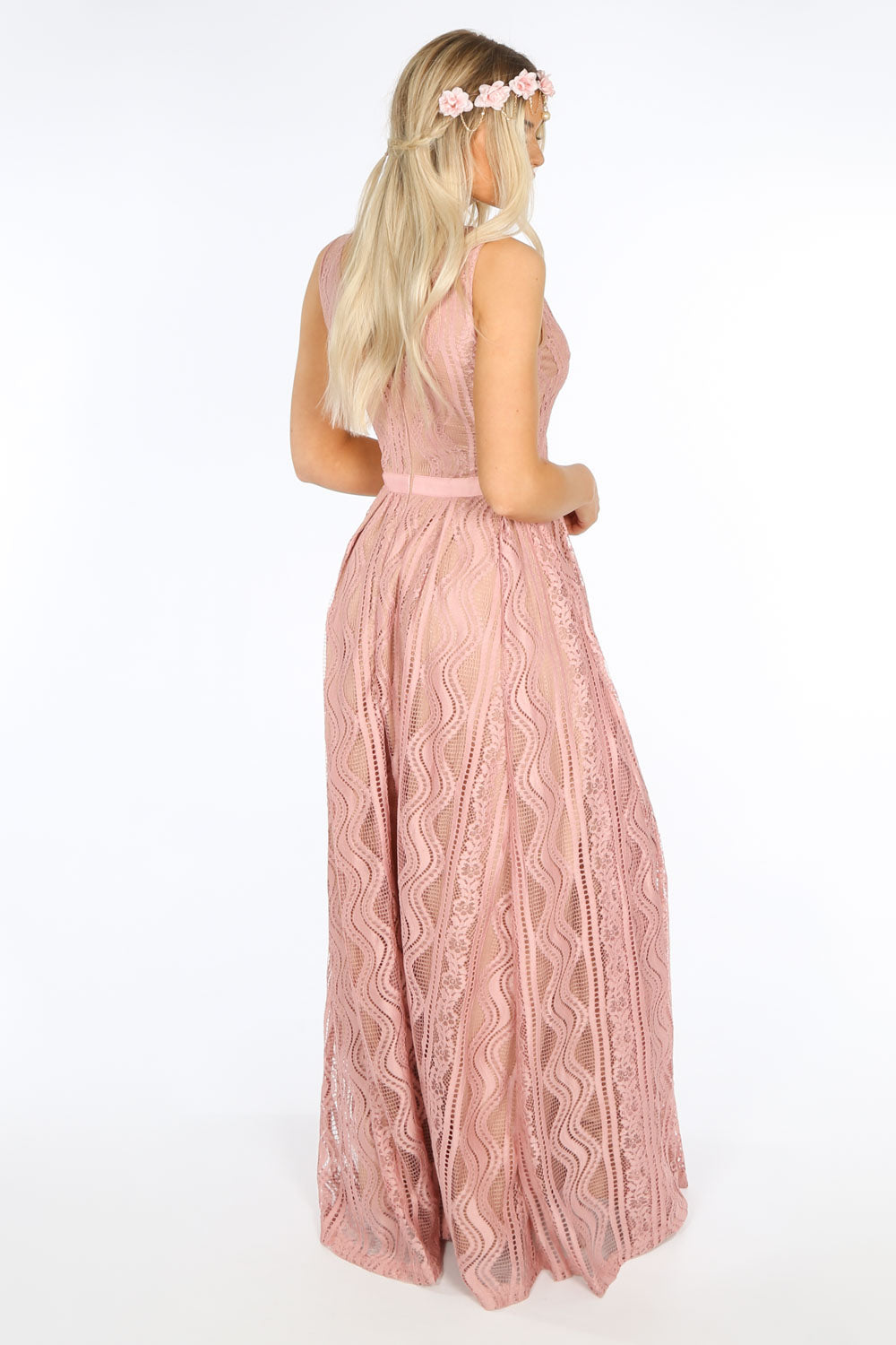 Contrast Lace Maxi Dress In Pink